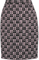 Oscar de la Renta Metallic Bouclé-tweed Pencil Skirt - Pink