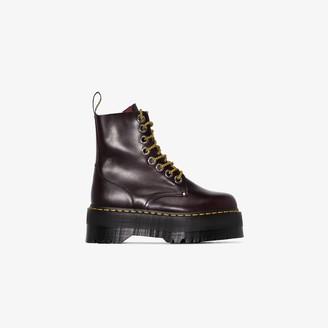 Dr. Martens red Jadon platform leather ankle boots