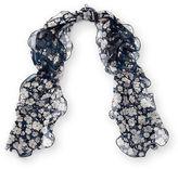 Ralph Lauren Ruffled Floral Silk Scarf