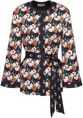 Temperley London Dragonfly Belted Floral-print Satin-crepe Jacket