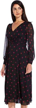 Adrianna Papell Daisy Dot Fit And Flare Dress