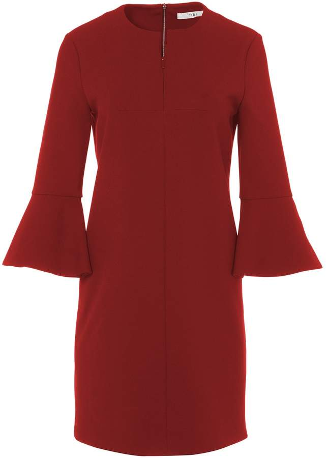 Tibi Structured Crepe Bell Sleeve Dress