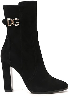 Dolce & Gabbana Logo Plaque Ankle Boots