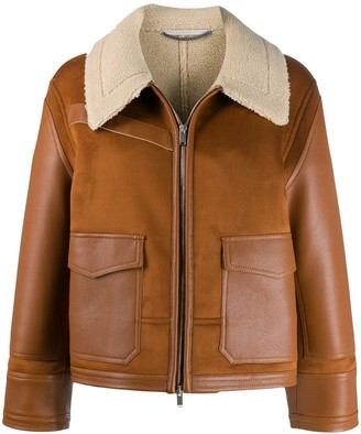 Stella McCartney Faux Leather Shearling-Trimmed Jacket