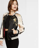 Express embroidered satin tiger reversible bomber jacket