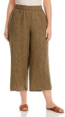 Eileen Fisher Plus Organic Linen Cropped Pants