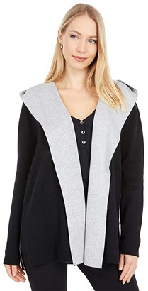 Splendid Cashblend Open Front Cardigan (Black/Midnight Heather Grey) Women's Clothing