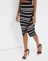 PETULIA Striped wrapped midi skirt