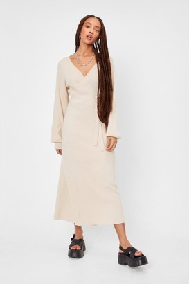 Nasty Gal Womens Knitted Balloon Sleeve Belted Midi Dress - Beige - 6