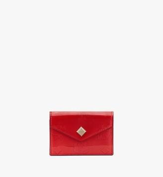 MCM Three Fold Wallet in Metallic Monogram Leather