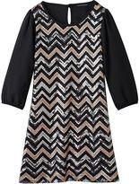 My Michelle Girls 7-16 Chevron Sequin Dress