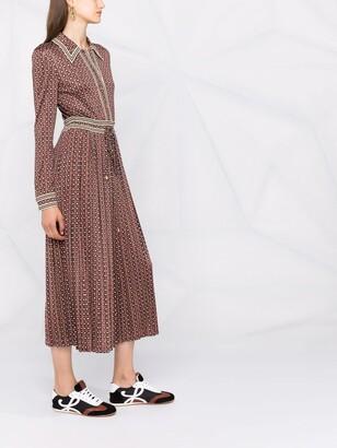 Tory Burch Pleated-Skirt Shirt Dress