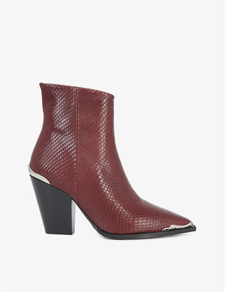 The Kooples Snakeskin-embossed leather ankle boots