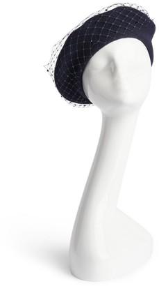 William Chambers Veil-Detail Wool Beret