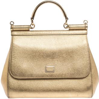 Dolce & Gabbana Metallic Gold Leather Medium Miss Sicily Top Handle Bag