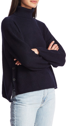 1 STATE 1.STATE Side Button Waffle Weave Turtleneck Sweater