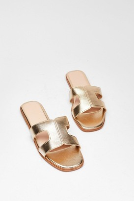 Nasty Gal Womens Cut-Out About Town Faux Leather Sandals - Gold