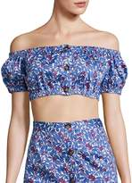 Peserico Women's Wildflower Gio Off-The-Shoulder Crop Top
