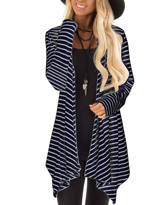 CNFIO Cardigans for Women Long Sleeve Stripe Open Front Waterfall Cardigan Knit Sweater B-Navy 2X-Large/UK 18