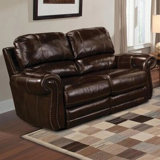 """Canora Grey Jettie Leather Reclining 68"""" Rolled Arms Loveseat Fabric: Charcoal Brown"""