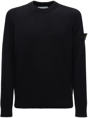 Stone Island Logo Badge Rib Wool Blend Knit Sweater