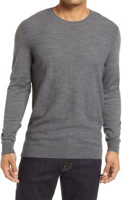 Stone Rose Honeycomb Knit Crewneck Sweater