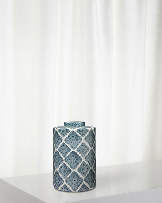 Jamie Young Large Oran Canister in Blue and White Ceramic