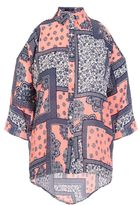 Quiz Coral And Navy Tile Print Cold Shoulder Top