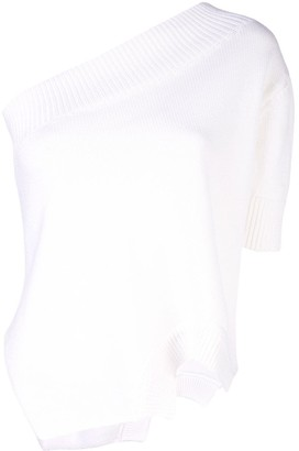 Monse Upside Down one shoulder knitted top