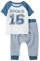 Amy Coe Newborn/Infant Boys) Two-Piece Blue Rookie Tee & Stripe Pants Set