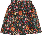 RED Valentino Floral-print Taffeta Mini Skirt - Black