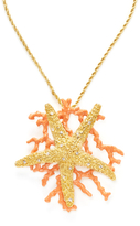 Kenneth Jay Lane Convertible Starfish & Coral Branch Pin & Pendant Necklace
