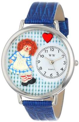 Whimsical Watches Vintage Raggedy Ann Royal Blue Leather and Silvertone Unisex Quartz Watch with White Dial Analogue Display and Multicolour Leather Strap U-0220004