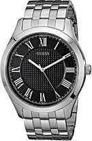 GUESS GUESS? Men's U0476G1 Classic Silver-Tone Watch with Black Dial