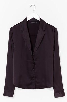 Nasty Gal Womens Plus Size Satin Shirt with Blouson Sleeves - Black