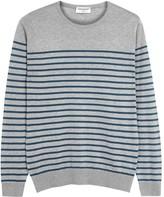 John Smedley Redfree Grey Striped Cotton Jumper