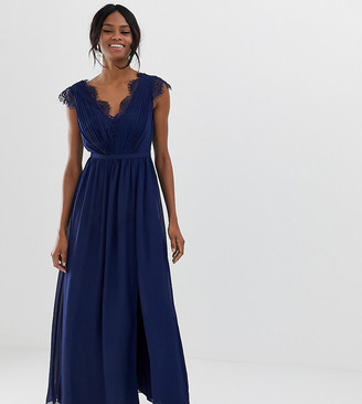 Little Mistress Tall maxi dress with lace detail and side split-Navy