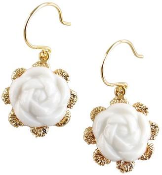 Poporcelain Everyday Porcelain Camellia Flower Charm Earrings