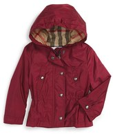 Burberry Infant Girl's 'Gia' Hooded Showerproof Jacket