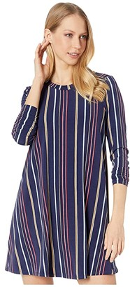 BCBGeneration Long Sleeve A-Line Dress TPM6236039 (Multi) Women's Clothing