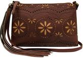 Cognac Floral Top-Zip Crossbody Bag