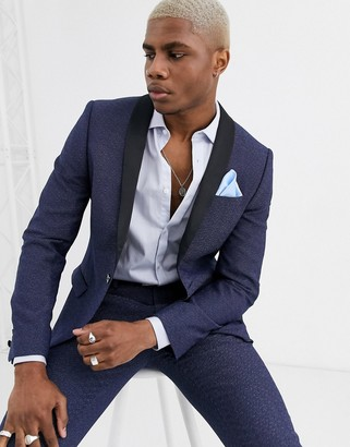 Twisted Tailor super skinny tuxedo suit jacket with blue fleck