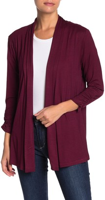 Bobeau Cinched Sleeve Cardigan (Regular & Petite)