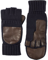 Barneys New York MEN'S KNIT & LEATHER CONVERTIBLE FINGERLESS GLOVES-BROWN