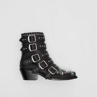 Burberry Buckled Embellished Leather Peep-toe Ankle Boots