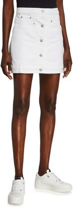 7 For All Mankind Asymmetric Button-Front Denim Skirt