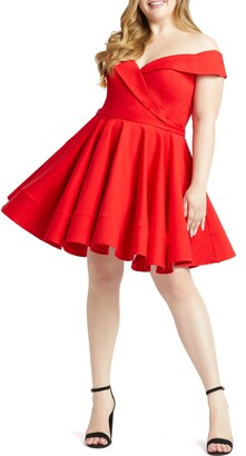 Mac Duggal Portrait Collar Skater Dress