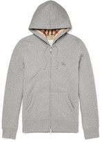 Burberry Slim-fit Cotton-blend Jersey Zip-up Hoodie - Gray