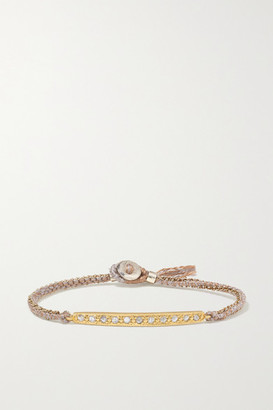 Brooke Gregson 14-karat Gold, Sterling Silver, Silk And Diamond Bracelet