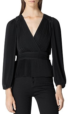 The Kooples Pleated Wrap Top